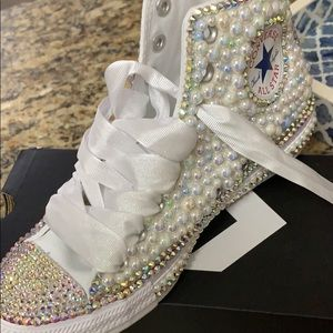 Bedazzled pastels an Pearls  Converse as 8.5 Women